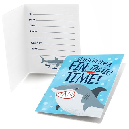 Shark Zone - Shark Week Party - Fill In Jawsome Shark Party or Birthday Party Invitations (8 count) (Shark Themed Birthday Party Supplies)
