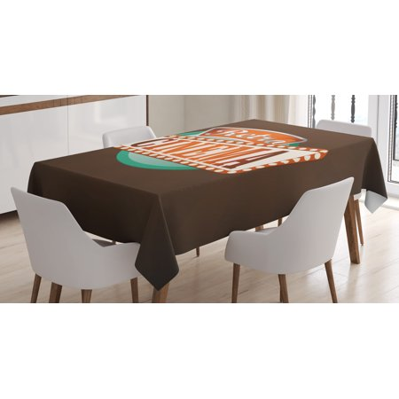 Movie Theater Tablecloth, Retro Style Cinema Sign Design Film Festival Hollywood Theme, Rectangular Table Cover for Dining Room Kitchen, 52 X 70 Inches, Brown Turquoise Vermilion, by Ambesonne