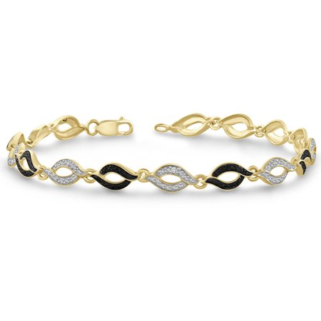 - Black and White Diamond Accent 14kt Gold over Silver Fashion Bracelet, 7.5