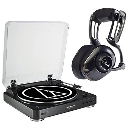 Audio Technica AT-LP60BK-BT Bluetooth Automatic Turntable (Black) & Blue  Microphones Mo-Fi Powered High-Fidelity Headphones with Integrated  Audiophile