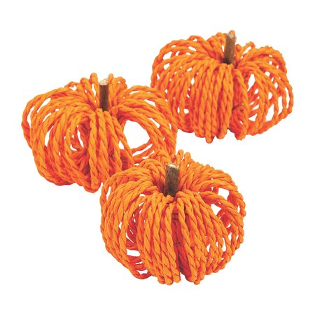 Paper Raffia Pumpkins - Craft Supplies - 12 Pieces Pumpkins pumpkins and more pumpkins. Heres proof you can never have too much of this good thing. A fabulously fall addition to adult craft supplies and home dcor these itty-bitty gourds come crafted in bright orange raffia. They contain a natural look and can be used in DIY wreaths or easily tossed in a clear jar for a centerpiece that wows from the beginning of September through Thanksgiving. 2 1/4  x 2