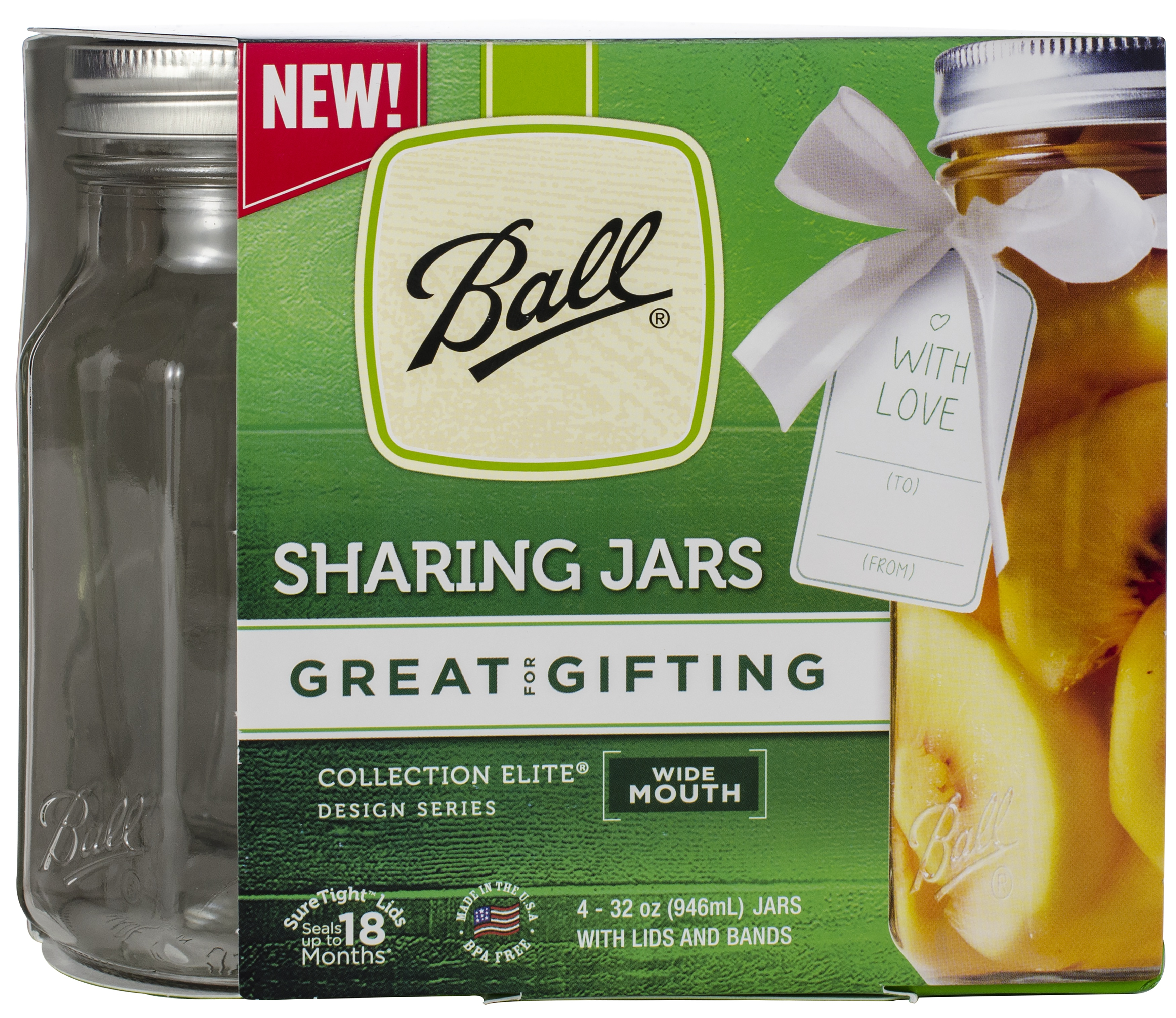 Ball 32 Oz Wide Mouth Sharing Jars, 4 Pack by Ball