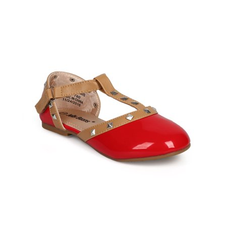 DH98 Patent Round Toe Studded T-Strap D'Orsay Ballet Flat (Little Girl/ Big Girl)