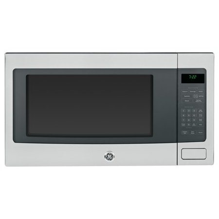 GE Profile 24  2.2 cu. ft. Countertop Microwave GEP1023Features2.2 cu. ft. capacity; 1100 Watts (IEC-705 test procedure)Sensor cooking controls; Automatically adjusts time and power for delicious cooking resultsBuilt-in capable microwave; This countertop microwave oven is built-in capable with a sleek matching trim kitWeight and time defrost; Weight defrost sets the defrosting time and power levels to deliver even defrosting results for up to 6 pounds of meats, poultry and fish while time defrosts for a length of time you specifyExtra-large 16  turntable; Rotates food throughout the cycle and accommodates large cookwareInstant On controls; One-touch instant operationCountry of Manufacture: United StatesCapacity: 2.2 Cubic FeetProduct Type: CountertopFinish: Stainless SteelWattage: 1100 WattsClock Included: YesTimer Included: YesSensor Cooking: YesSpeed Cooking: YesSafety Lock Feature: YesTurntable Included: Yes DimensionsOverall Height - Top to Bottom: 14 Overall Width - Side to Side: 24.125 Overall Depth - Front to Back: 19.75 Overall Product Weight: 44 lbs SpecificationsCommercial OR Residential Certifications: Yes