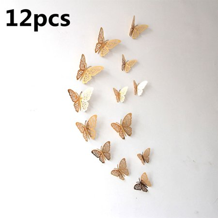 3D Hollow-out Butterflies Wall Stickers DIY Home Decor Poster Kids Rooms Wall Party Wedding Ornament 12Pcs/Set](Butterfly Party Decor)