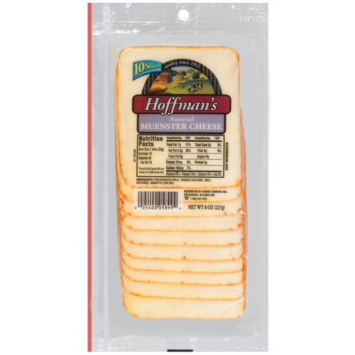 Hoffman's Natural Muenster Cheese Slices, 10 count