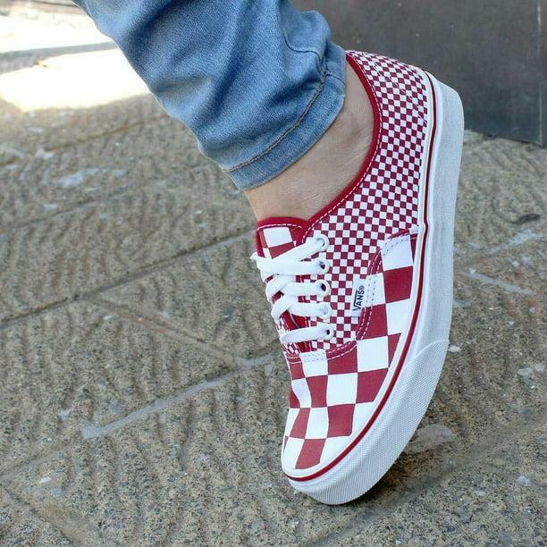 Vans Authentic Mix Checker Chili Pepper Men's Classic Skate Shoes Size 13