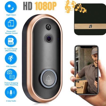 EEEKit Wireless Video Doorbell Camera, WiFi 1080P Doorbell Home Security Camera with Indoor Chime, Cloud Service, Night Vision, 2-Way Talk, Motion Detection for iOS Android Phone ()