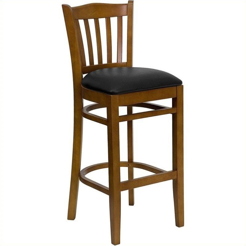 "Slat Back Bar Stool 29"", Cherry and Black"