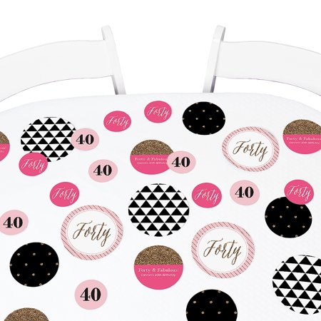 - Chic 40th Birthday - Party Table Confetti Set - 27 Count