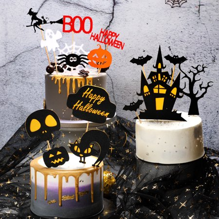 Cool Visland Halloween Pumpkin Witch Bat Haunted House Cake Topper Flag Personalised Birthday Cards Epsylily Jamesorg