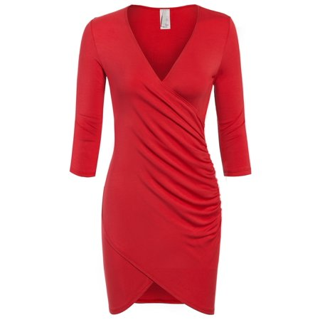 KOGMO Womens 3/4 Sleeve Front Wrap Ruched Shirred Slim Fit Mini Dress