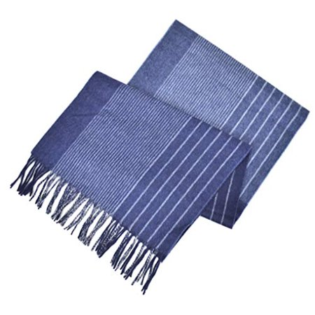 New  Brooks Brothers Men's 100% Cashmere Striped Rectangle Scarf (Navy Blue/Blue)