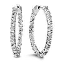 3 Carat Tw Oval Diamond Hoop Earrings with Push Button Locks In 14k White Gold
