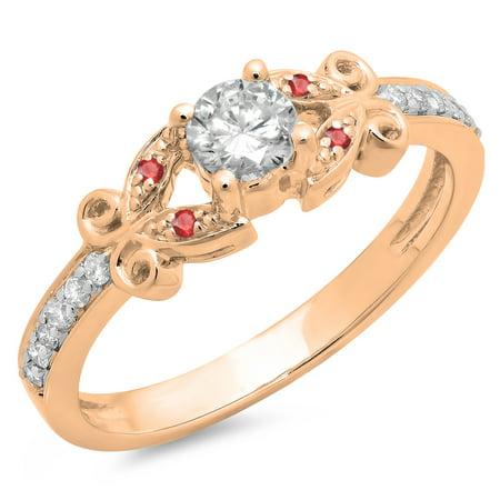 18k Wg Ruby - 0.50 Carat (ctw) 18K Rose Gold Round Ruby & White Diamond Ladies Bridal Unique Vintage Style Engagement Ring 1/2 CT