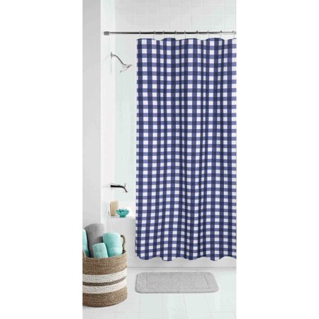 Mainstays Classic Gingham Fabric Shower Curtain - Walmart.com