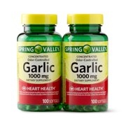 Spring Valley Odorless Garlic Softgels, 1000mg, 100 Count, 2 Pack