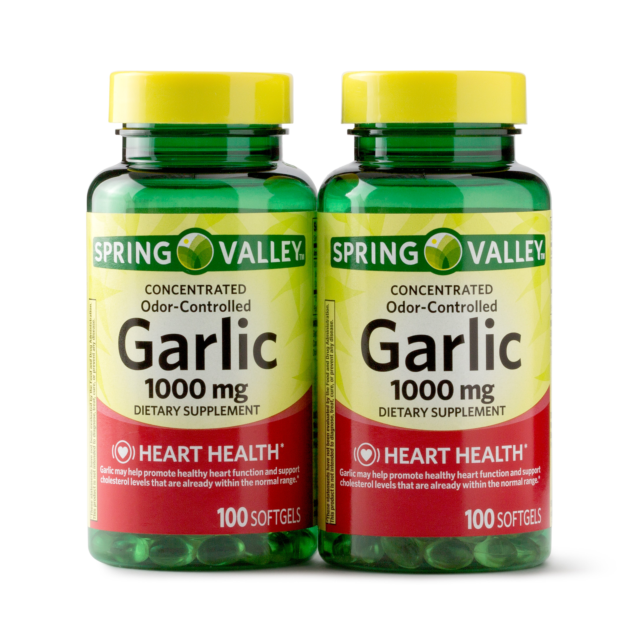 Spring Valley Odorless Garlic Softgels, 1000 mg, 100 Ct, 2 Pk