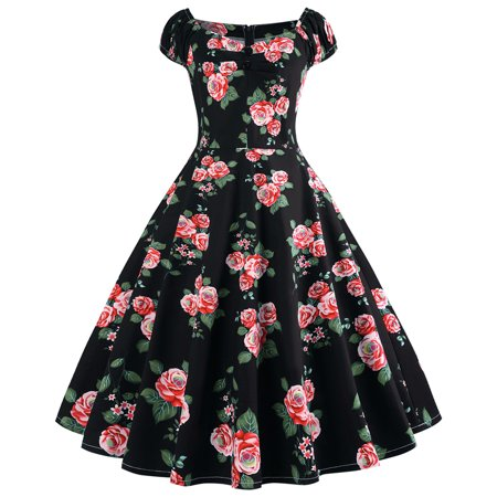 Women's Plus Size Vintage Off Shoulder Printing Dress Ball Gown - Masquerade Ball Dresses For Sale