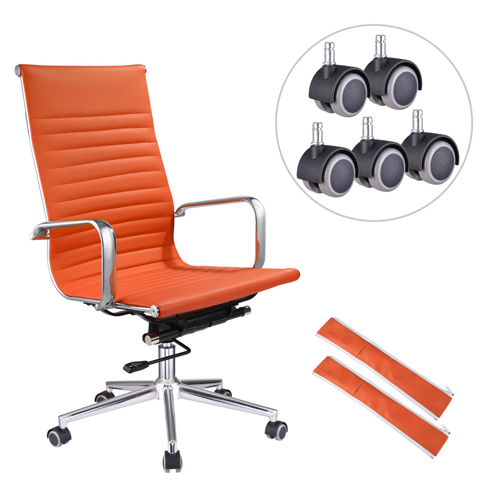 Ergonomic High Back Swivel Office Chair Orange XL w/ 5pcs Additional Free Casters Replacement