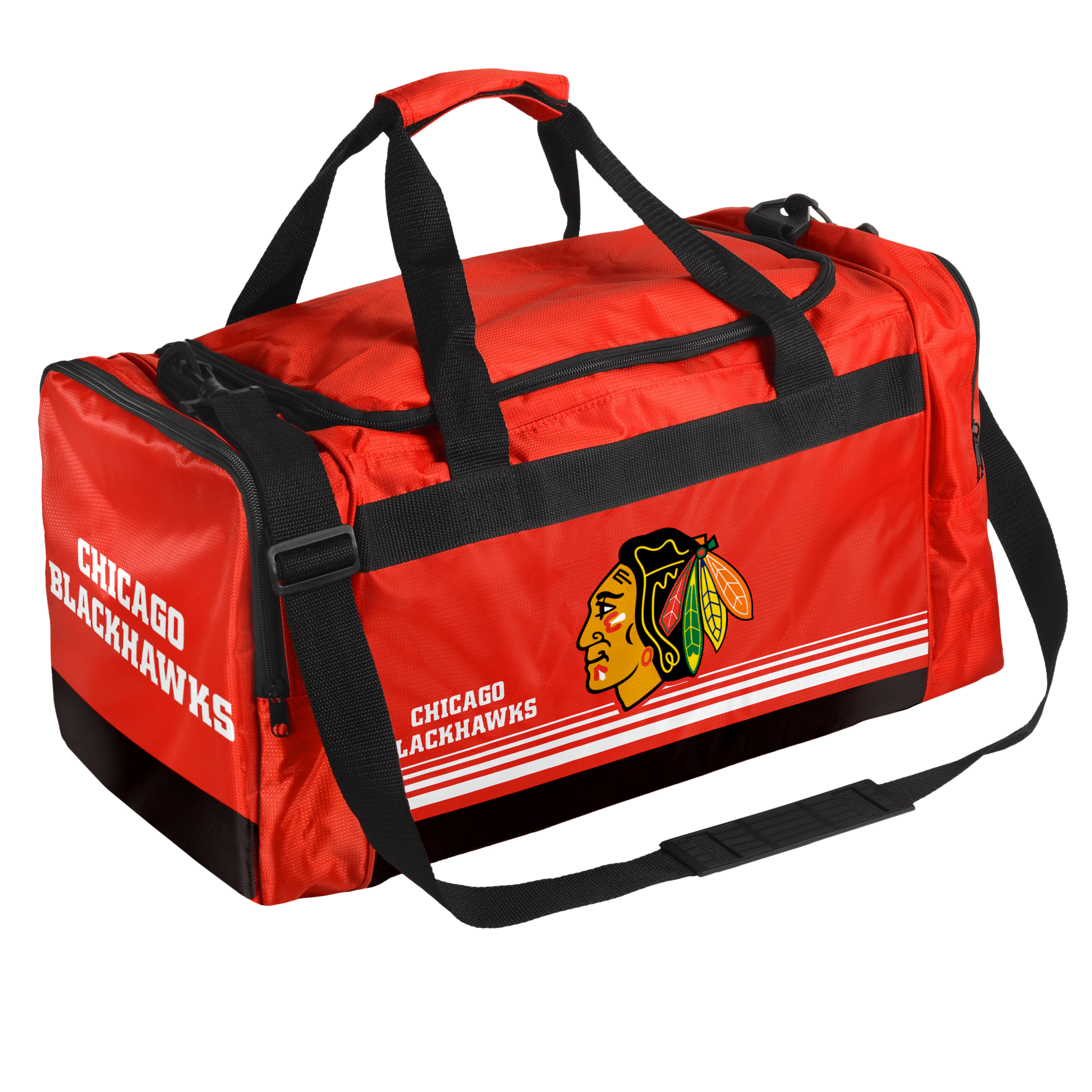 Chicago Blackhawks Official NHL 19 inch  x 12 inch  x 8 inch  Striped Core Duffle Bag by Forever Collectibles