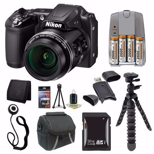 Nikon COOLPIX L840 Digital Camera (Black) (International Model No Warranty) + 4 AA Pack NiMH Rechargeable Batteries and Charger + 32GB SDHC Card + Case + Saver Bundle