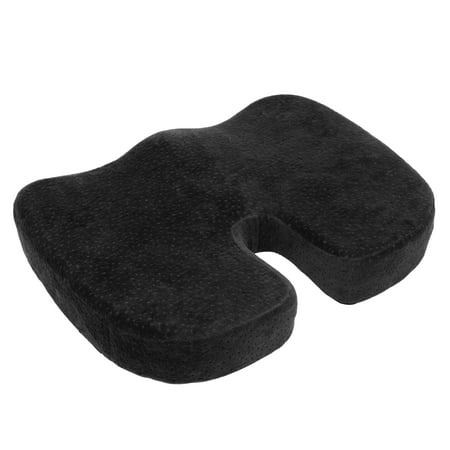 Black Seat Cushion - AURORA Black Memory Foam Coccyx Seat Cushion Orthopedically designed for Back, Tailbone and Sciatica Pain Relief; Promotes proper posture; Washable Cover