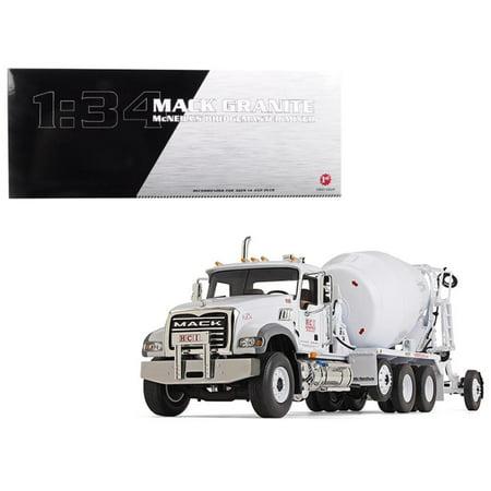 Mack Granite With McNeilus Bridgemaster Concrete Mixer White Horsfield Construction (HCI) 1-34 Diecast Model by First Gear