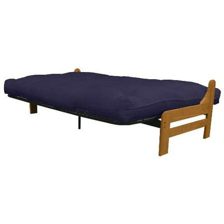 Epic Furnishings Bristol Futon Sofa Sleeper Bed Queen Medium Oak Frame Navy Mattress