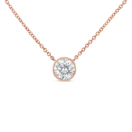 10K Gold Diamond Solitaire Pendant Necklace (H-I,SI2-I1)