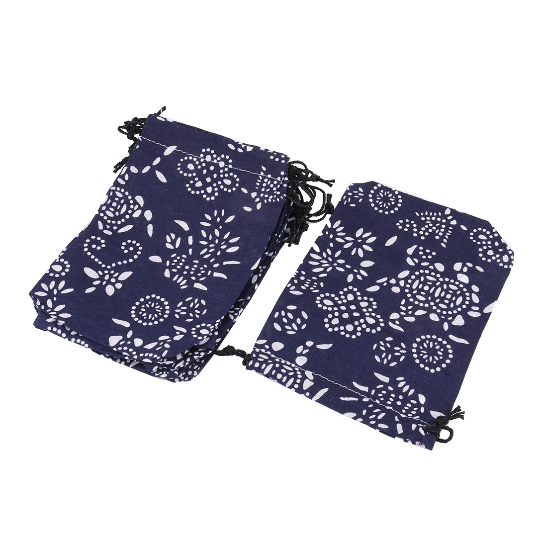 Cotton Linen Leaf Print Chinese Style Jewelry Storage Pouch Drawstring Bag 10pcs