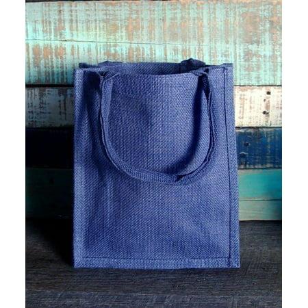 Medium Wholesale Burlap Tote Bags - Gift Favor Bags | TJ887 - Set of 6, Blue