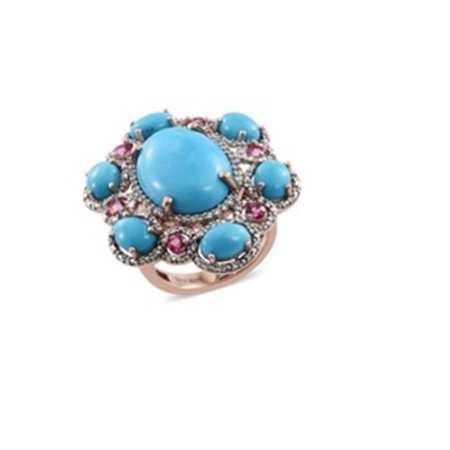 Sterling Silver Sleeping Beauty Turquoise Blue Sapphire Cocktail Ring for Women