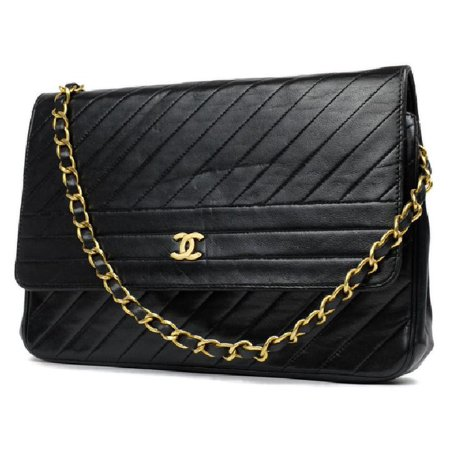 c9529ab01f97 Chanel - Wallet on Chain Chevron Diagonal 214393 Black Quilted ...