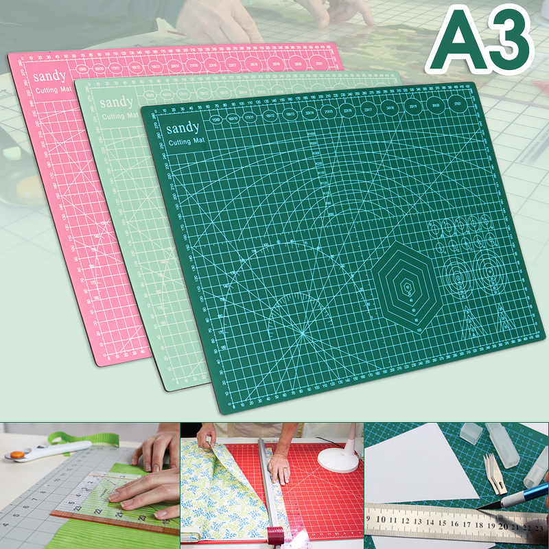 """A3 18""""x12""""x0.1"""" Self Healing Rotary Cutting Mat Double-Sided Durable PVC Printed Grid Lines Leather Paper Board"""