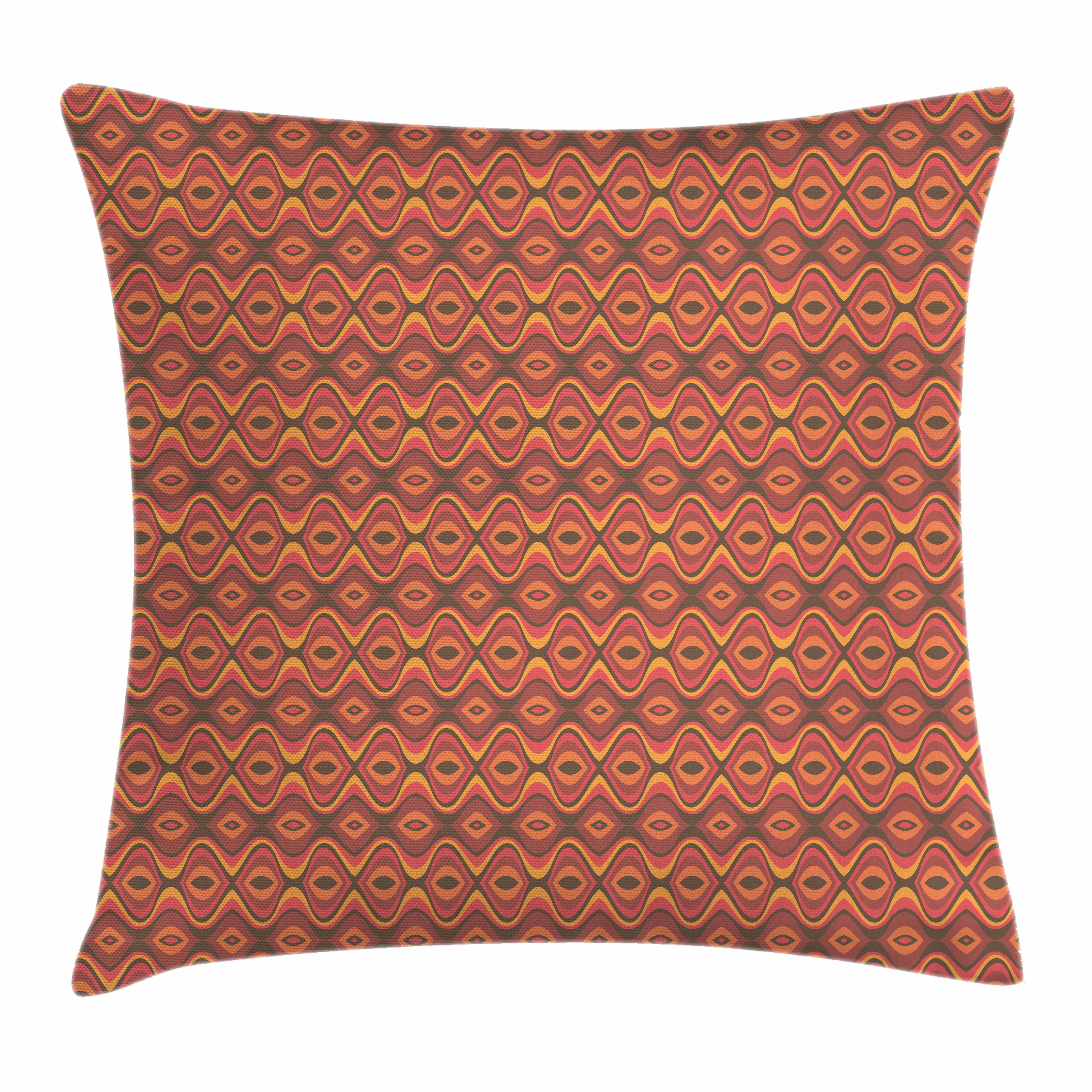 Geometric Throw Pillow Cushion Cover, Folk African Horizontal Traditional Stripes Wavy Hippie Print, Decorative Square Accent Pillow Case, 16 X 16 Inches, Dark Coral Dried Rose Marigold, by Ambesonne