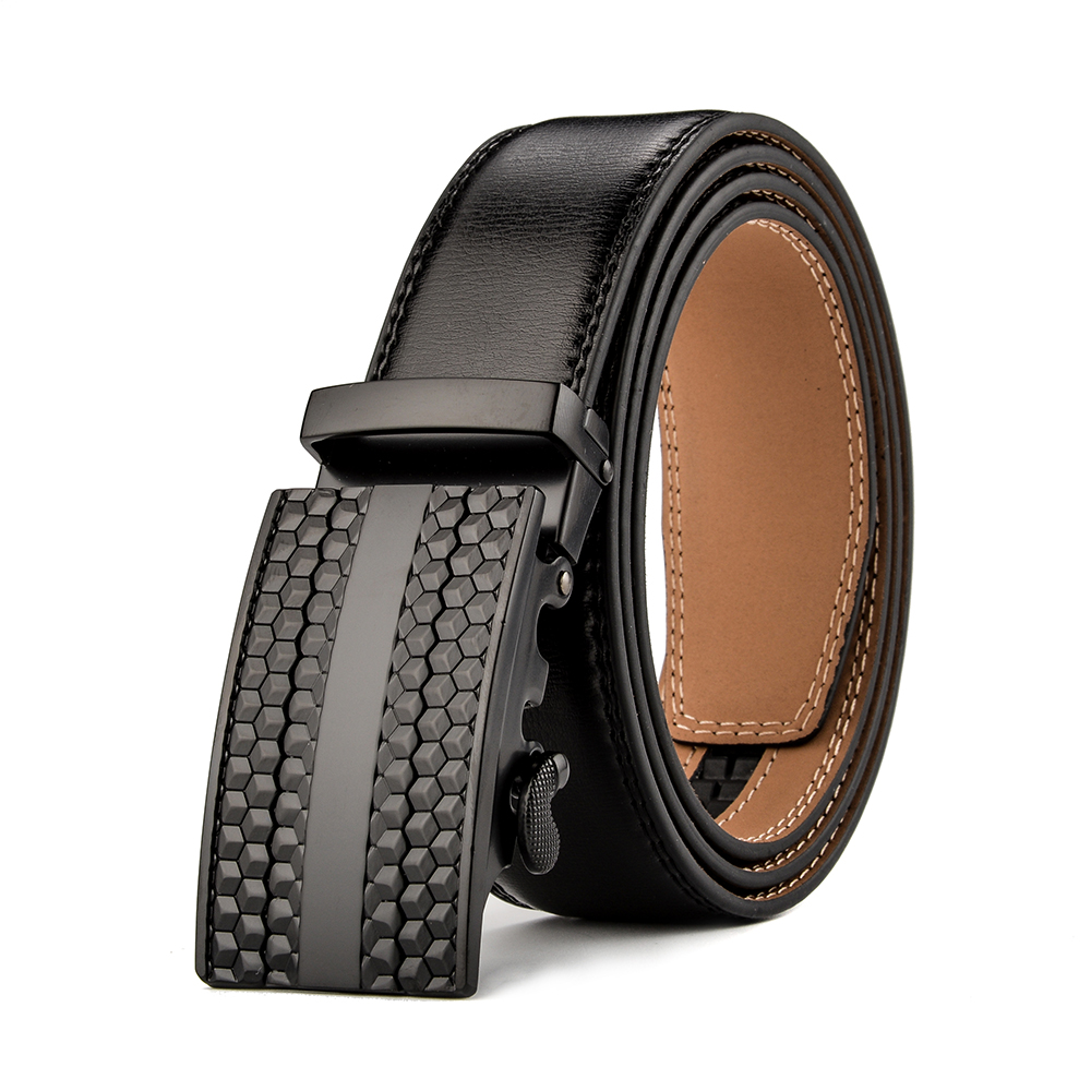 Men's Leather Belt Dress Ratchet Belt 35mm Adjustable Size Up to 42