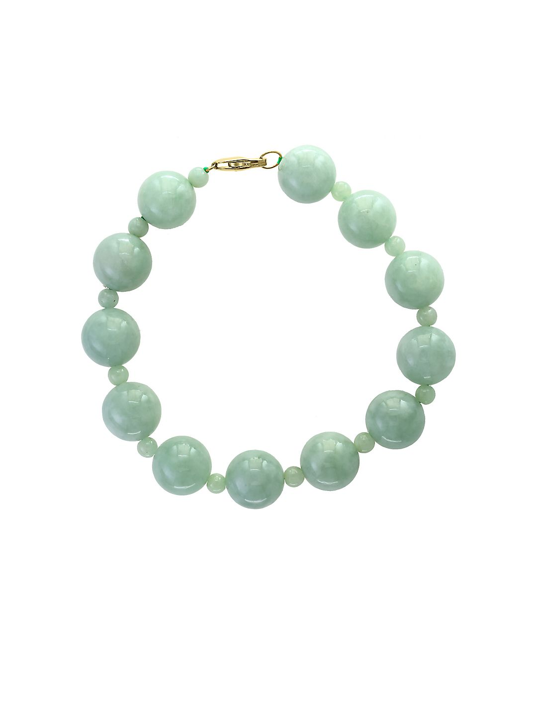 Natural Jade and 14K Yellow Gold Bracelet