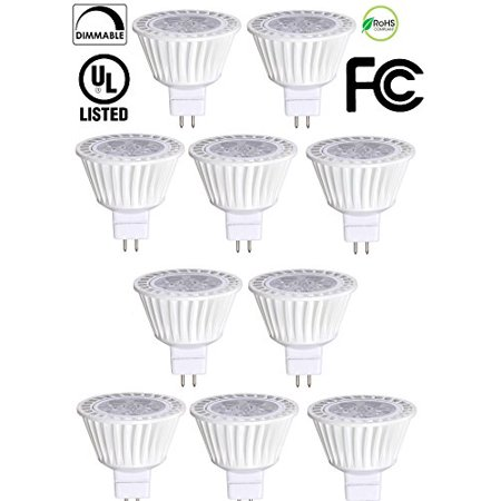 - 10 Pack Bioluz LED MR16 LED 50W Halogen Equivalent Dimmable 7w 3000K 12v AC/DC UL Listed