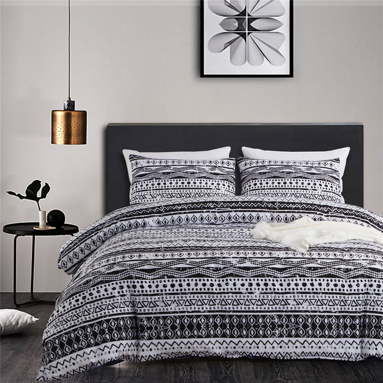 Bohemian Geometric Duvet Cover Set Microfiber Soft Black And White Printed Duvet Cover Bedding Set With Zipper Walmart Canada