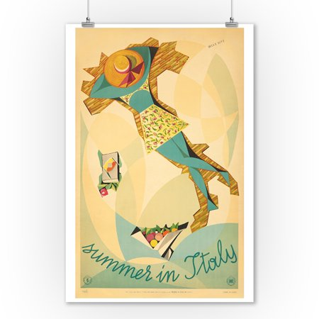 - Summer in Italy Vintage Poster (artist: Site, Mino Delle) Italy c. 1952 (9x12 Art Print, Wall Decor Travel Poster)