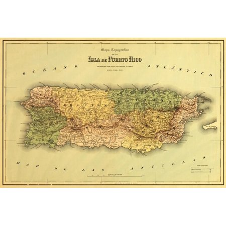 Puerto Rico - Panoramic Map Antique Print Wall Art By Lantern Press