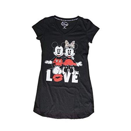 [P] Disney Juniors' Mickey & Minnie Mouse LOVE Front & Back Print Tshirt - Black (XL) - Black Minnie Mouse