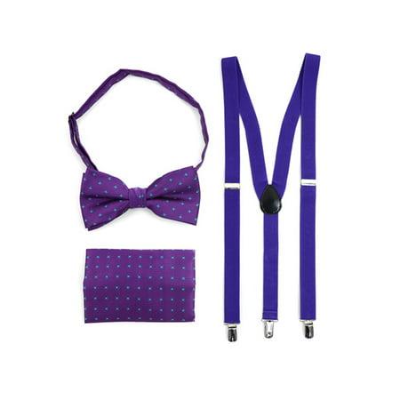 1e2874122299 3pc Men's Purple Banded Suspenders, Floral Bow Tie and Hanky Sets -  Walmart.com