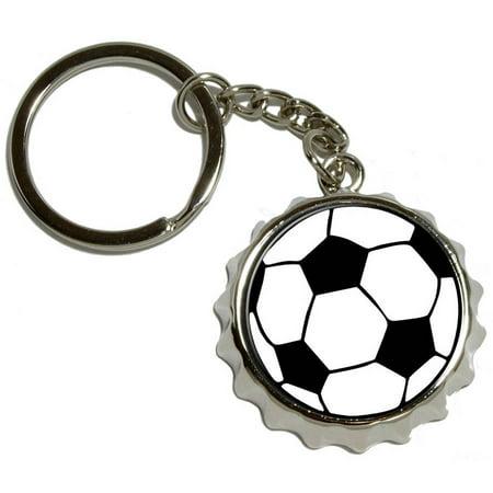 Soccer Ball, Nickel Plated Metal Popcap Bottle Opener Keychain Key Ring