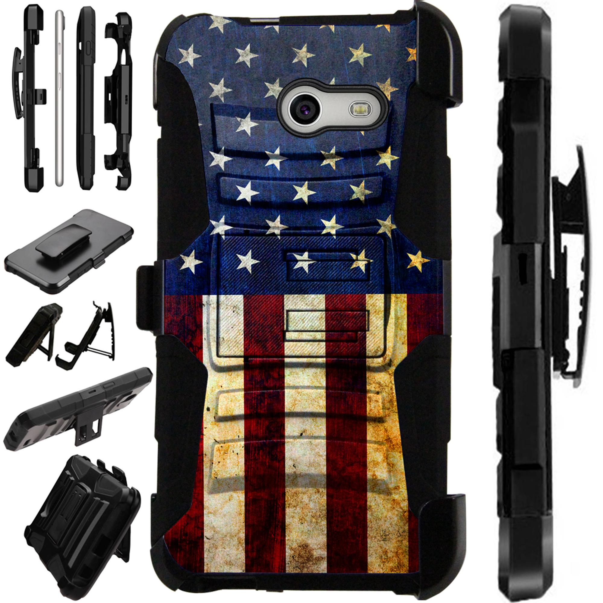 LuxGuard Phone Case Cover For Samsung Galaxy J7 J7V (2017) | J7 Sky Pro | J7 Perx  (US Flag Half)