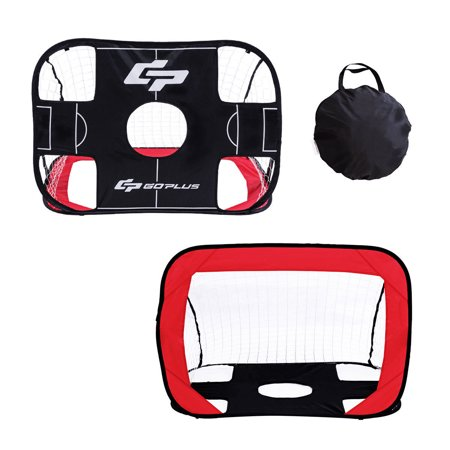 (Portable 2 in 1 Pop Up Kids Soccer Goal Net Soccer Target Sports w Carry Bag)