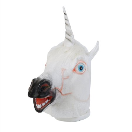 Funny Head Masks (Funny Creative Halloween White Unicorn Horse Head Mask Latex for a Crazy Cosplay Party Costume Dress)