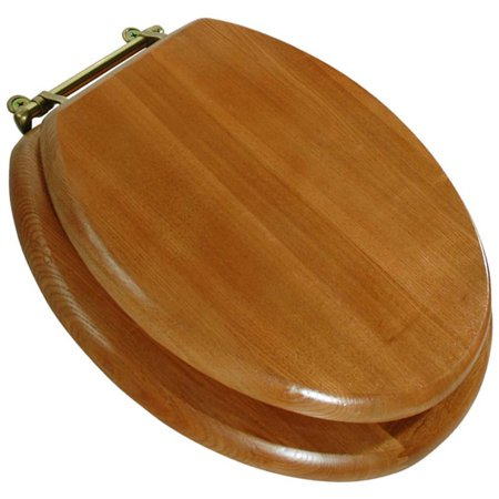 wooden toilet seat hinges. LDR 050 1700 Round Wood Toilet Seat with Polished Brass Finish Hinges