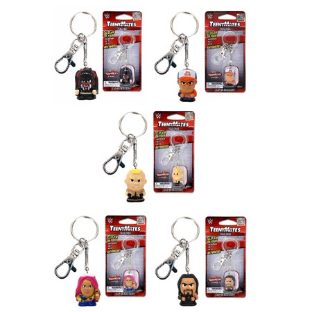 WWE Tagalong Keychain Veriety Pack No 4 Current Stars- Finn Balor, John Cena, Sasha Banks, Brock Lesnar and Roman